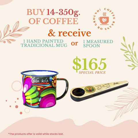 BUY 14-350g of Coffee and Receive 1 hand painted mug or 1 measure Spoon