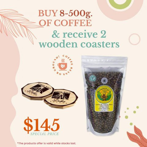 BUY 8- 500g of Coffee and Receive 2 artisanal wooden coasters